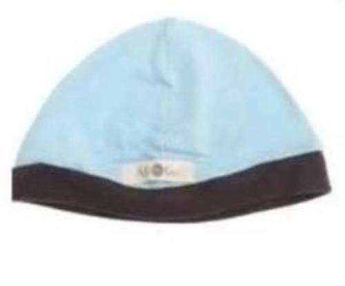 Light blue and brown trim baby cap