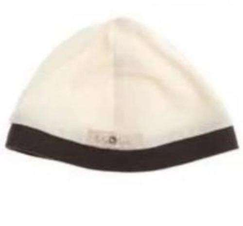 Ivory and brown trim baby cap