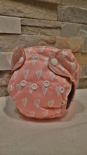 Newborn All in One White Hearts On Pink Diaper - Bumbini Cloth Diaper Company