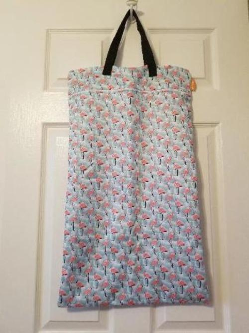 Large Hanging Double Pocket Wetbag Flamingos - Bumbini Cloth Diaper Company