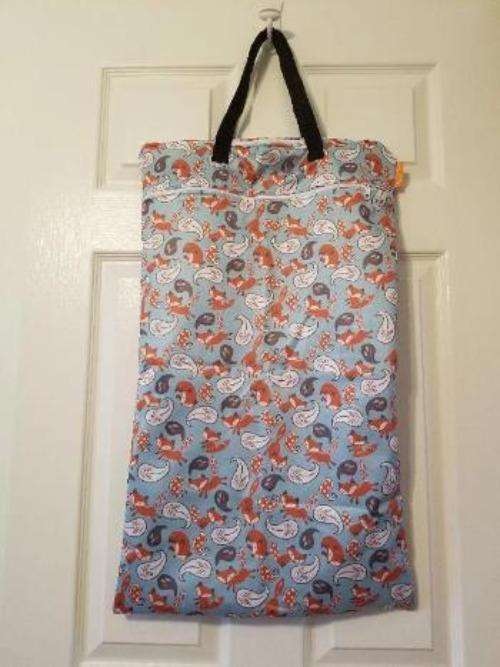 Large Hanging Double Pocket Wetbag  Foxes - Bumbini Cloth Diaper Company