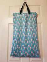 Large Hanging Double Pocket Wetbag White Dots on Blue Background - Bumbini Cloth Diaper Company