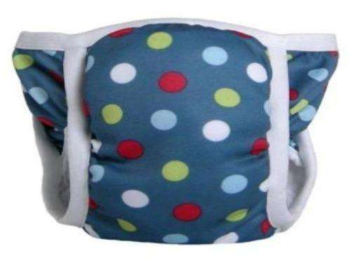 Bummis Potty Pant Red,Light Blue and Light Green Dots On Blue Background - Bumbini Cloth Diaper Company