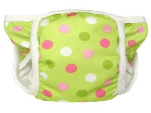 Bummis Potty Pant Pink, White and Dark Green Dots On Light Green Background - Bumbini Cloth Diaper Company