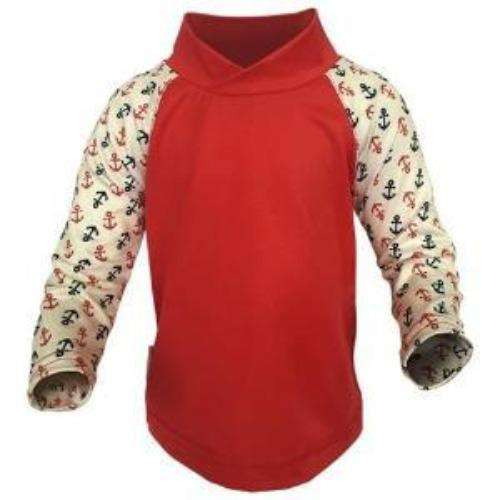 Bummis UV Tee Red Torso With Anchors On Sleeves - Bumbini Cloth Diaper Company