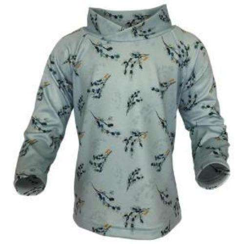 Bummis UV Tee Blue Birds On Grey Background - Bumbini Cloth Diaper Company