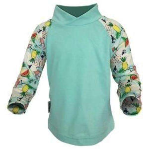 Bummis UV Tee Light Green Torso With Birds On Sleeves - Bumbini Cloth Diaper Company