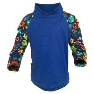 Bummis UV Tee Bark Blue Torso With Multi-Colored  Fishes On Sleeves - Bumbini Cloth Diaper Company