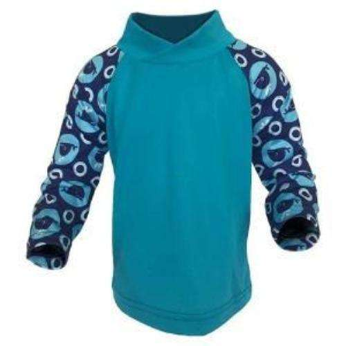 Bummis UV Tee Aqua Torso WIth Whales On Sleeves - Bumbini Cloth Diaper Company