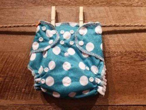 One Size AI2 White Dots and Blue Background Diaper System - Bumbini Cloth Diaper Company