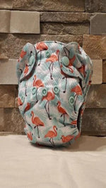 Newborn All in One Pink Flamingos Diaper - Bumbini Cloth Diaper Company