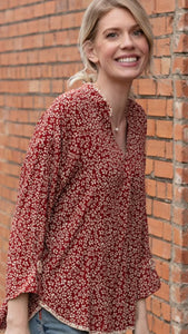 Button Detail Print Tunic Spice