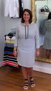 Ottoman Stripe Knit Hooded Dress