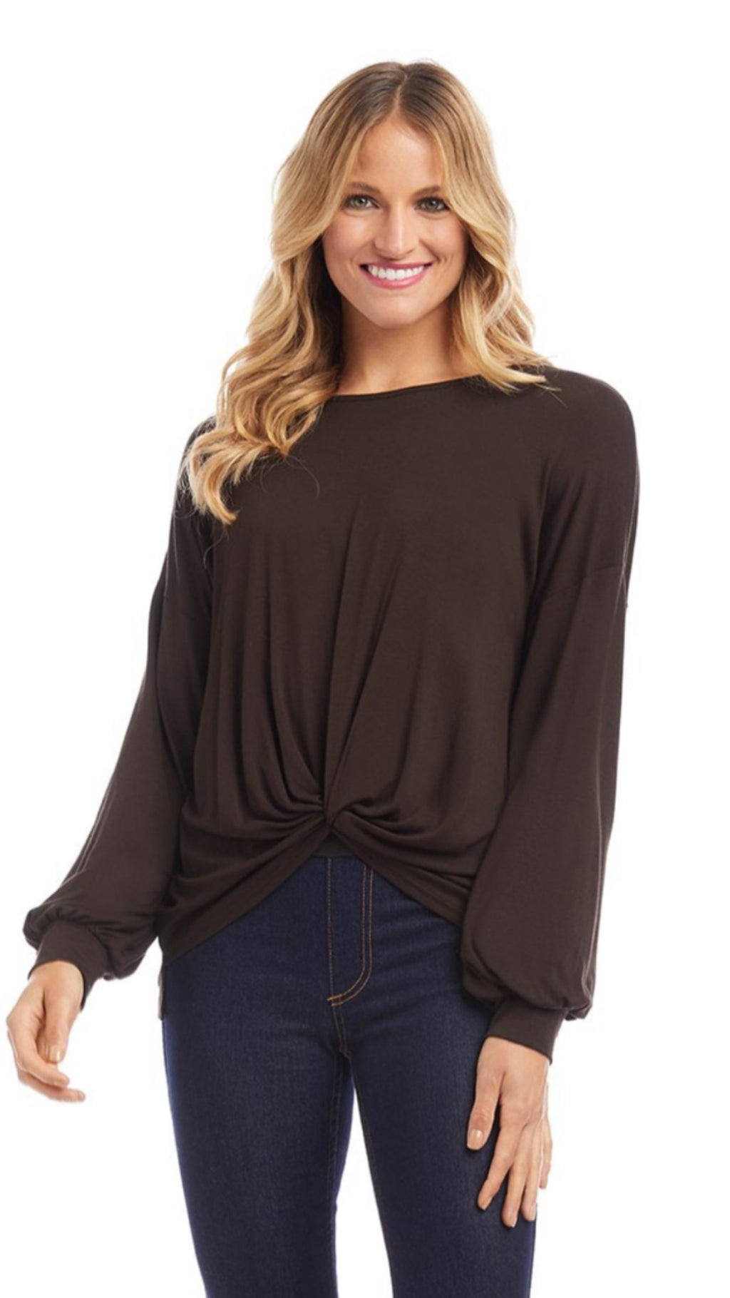 Golden Hour Twist Front Top Brown