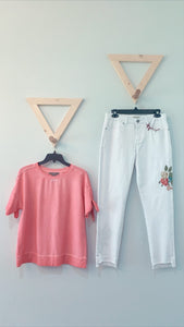 SS Crop Top With Tie Sleeve Rose