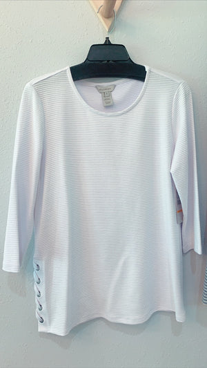 Scoop Neck Side Lace Top White