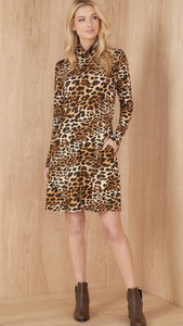 Golden Hour Quin Turtleneck Dress Leopard