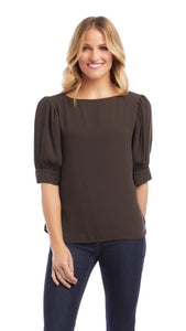 Golden Hour Shirred Boatneck Top Brown