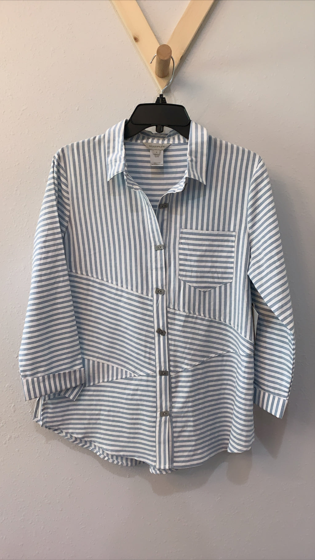 Multi Panel Stripe Shirt Lt Blue