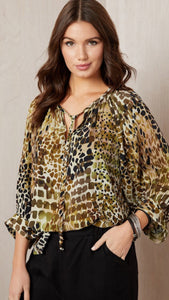 On Safari Peasant Top