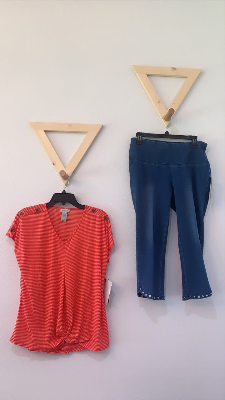 Wide Band Pull OnFrench Terry Crop Jeans