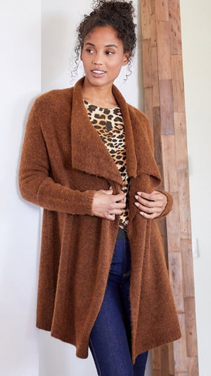 Golden Hour Drape Cardigan Cognac