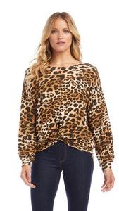 Golden Hour Twist Front Top Leopard