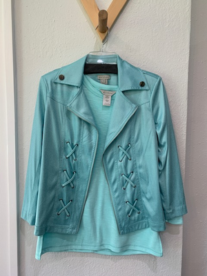 Clean Slate Jacket And Top Tiffany Blue