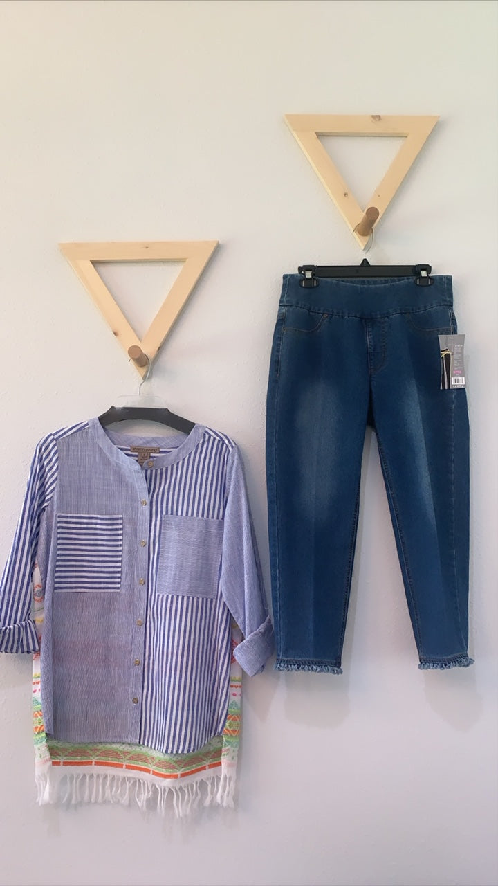 Mixed Stripe Button Down Top