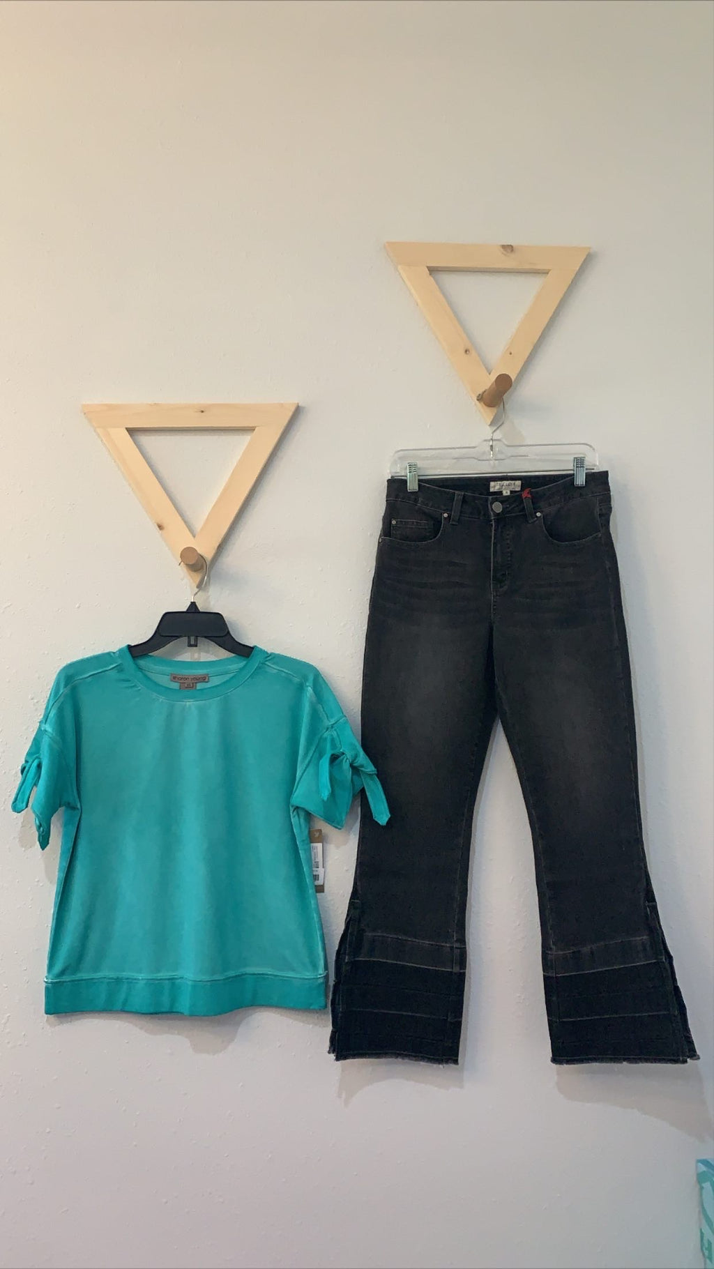 SS Crop Top With Tie Sleeve Turquoise