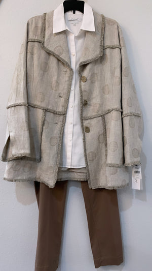 Necessary Neutrals Modern Jacket With Fringe Detail Natural