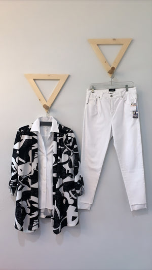 Print Jacket With Pointed Hem Black White