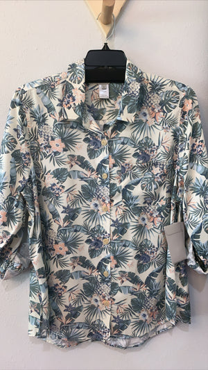 Hi Lo Button Front Print Shirt