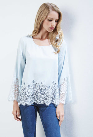 Lace Border Top Light Blue