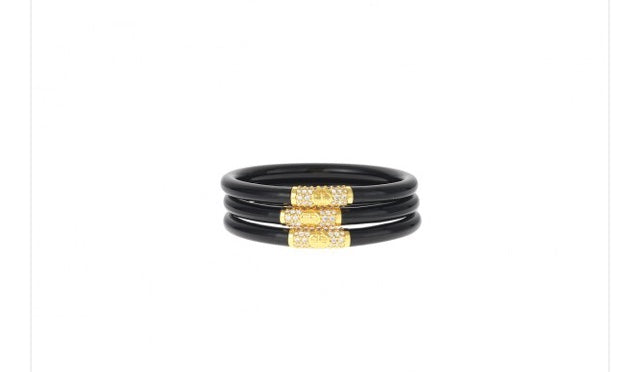 BuDhaGirl Serenity Prayer Bangles Black/Gold