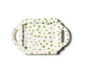 Mint Double Dot Handled Tray