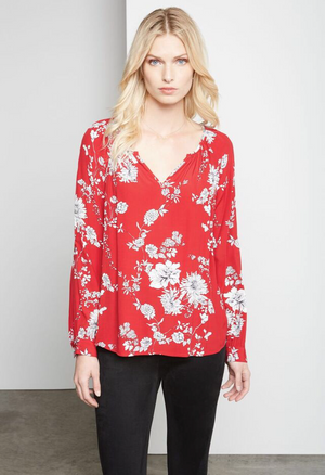 Peasant Top Red Print