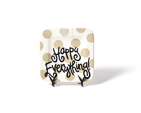 Happy Everything Mini Square Plate Neutral Dot