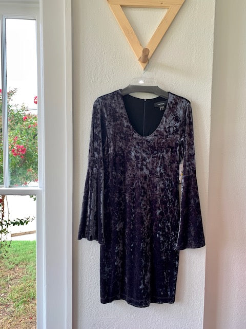 Glisten Up Bell Sleeve Velvet Dress Gray