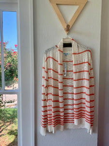 Coral Striped Cardigan