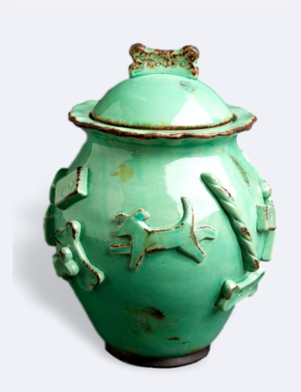 Dog Treat Jar Aqua Green