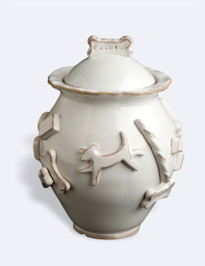Dog Treat Jar French White