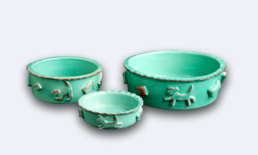 Dog Food/Water Bowl Aqua Green