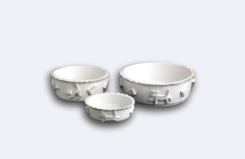 Dog Food/Water Bowl French White