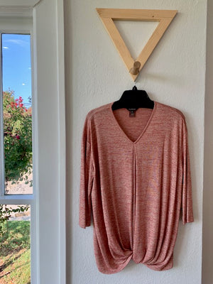 Twist Front Knit Top Pink