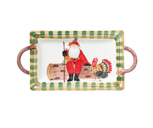 Old St Nick Handled Rectangular Platter With Turkey