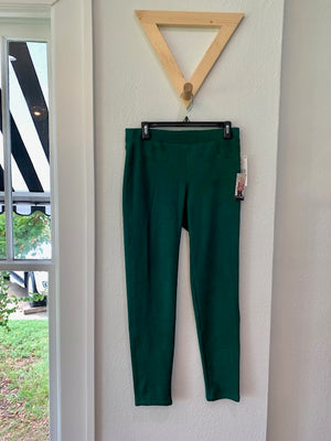 Faux Suede Pull On Pant Emerald