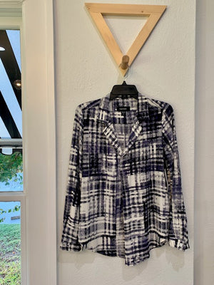 Sky Country Half Placket Shirt Blue Plaid