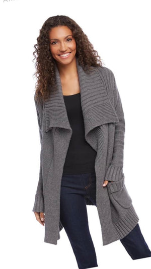 Shawl Collar Cardigan Dark Heather Gray