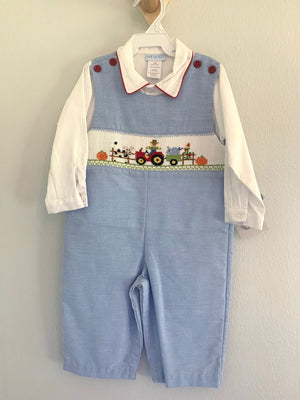 Harvest Smocked Boys Overall Set